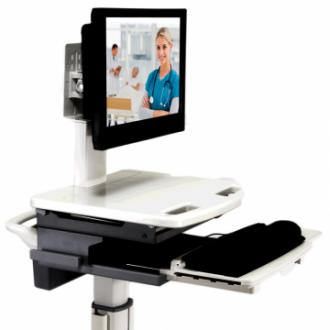 Medical Cart Computer / Computer on Wheels | ADITI (Top Angle Cart View)
